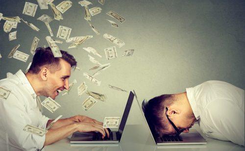 Corporate employee income compensation economy concept